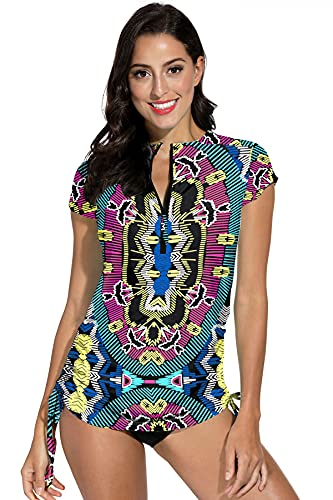 BesserBay Damen Bademode Rashguard UV Shirts Kurzarm 1/4 Zip Surf Shirt Schwimmshirt Badeshirts UPF 50+ Totem Muster