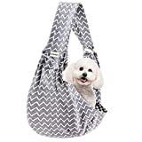 FDJASGY Small Pet Sling Carrier-Hands Free Reversible Pet Papoose Bag Tote Bag with a Pocket Safety Belt Dog Cat for Outdoor Travel (Gray Stripe)