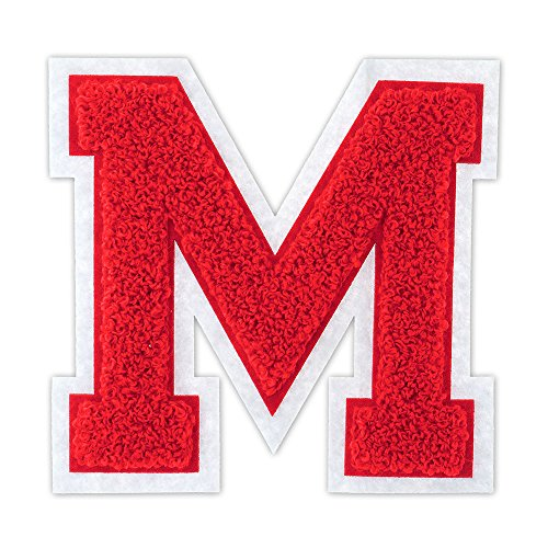 M - Red on White - 4 1/2 Inch Heat Seal/Sew On Chenille Varsity Letter