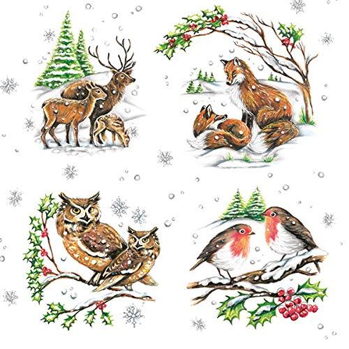20 Servietten Tierfamilien im Winter | Fuchs | Eule | Reh | Hirsch | Vögel 33x33cm