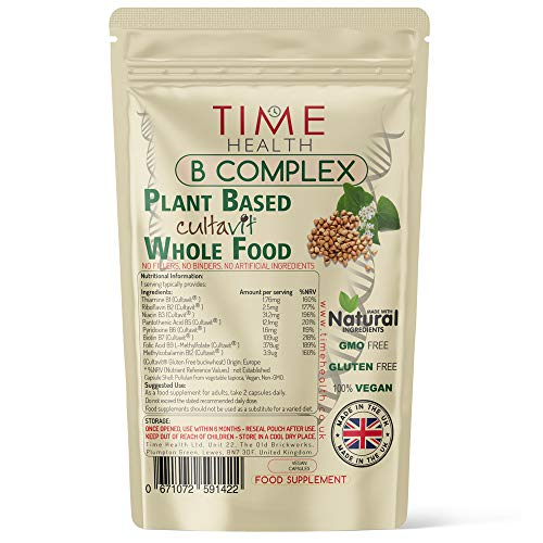 Vitamin B Complex Whole Food Plant Based Cultavit - Natural, Non-Synthetic B Vitamins - Highly Bioavailable - Zero Additives - UK Manufactured - Pullulan (60 Capsule Pouch)
