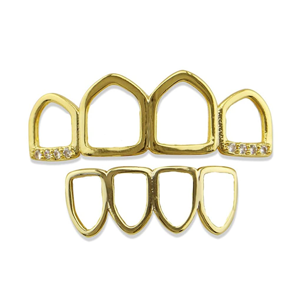 シマウマ無線近々マウストップデンタルグリル用 18Kゴールドメッキゴールド4歯中空ラインストーンヒップホップポーカートップとボトムデンタルカバーグリルセット ゴールドメッキヒップホップポーカー歯キャップ (色 : ゴールド)