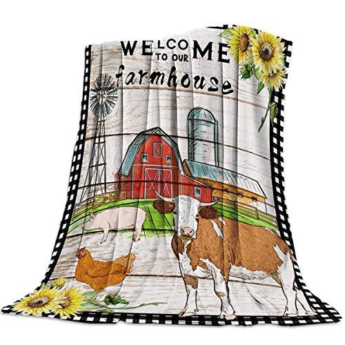 Mantas Para Manta Blanket tFarmhouse Animals Grano de madera y fondo a cuadros Mantas 125X100CM