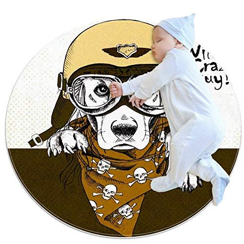 laire Daniel Leger Hoed Schedel Sjaal Bulldog Ultra Zacht Katoen Baby Kids Tapijt Rond Rond Ruimte Tapijt Peuter Game Playmat Diameter,27.6x27.6IN