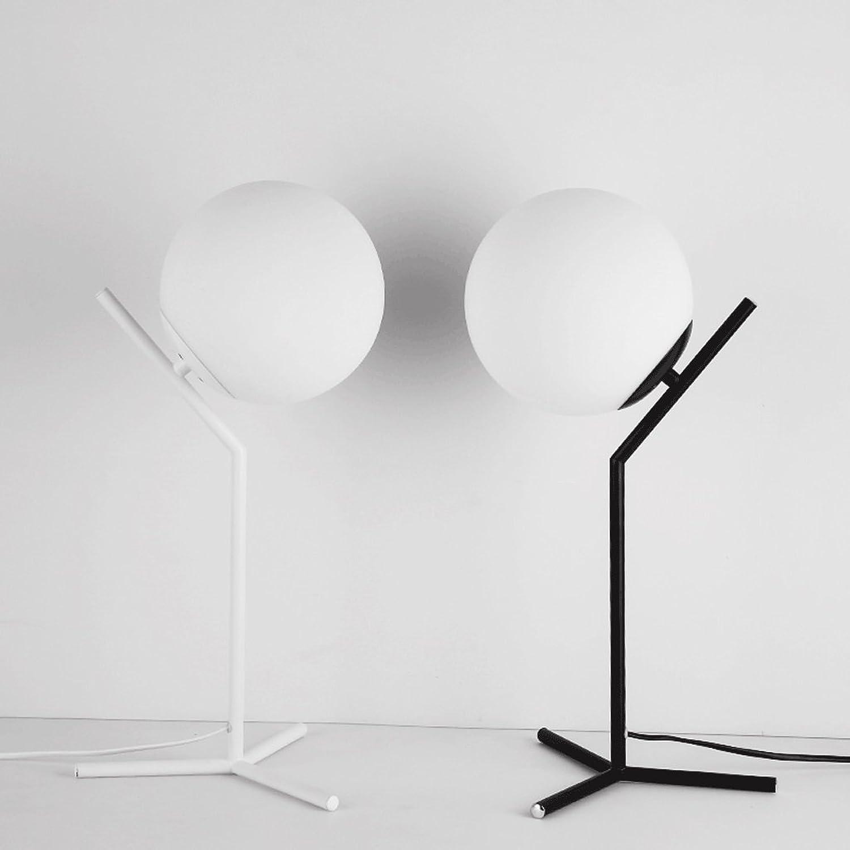 Amerikanische einfache Eisen LED Tischlampe, Nordic kreative Glas Tischlampe, moderne warme Schlafzimmer Studie Beleuchtung Tischlampe (Farbe   Weiß)