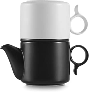 ZENS Ceramic Tea Pot and Cup Set for One with Infuser,8.5 Ounces Portable Loose Tea Pot Black and 7.7oz Kung Fu Teacup White for Office,Tea or Coffee Brewing
