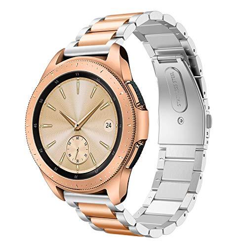 Syxinn Compatibile con Samsung Galaxy Watch 42mm/Watch 3 41mm Cinturino 20mm Acciaio Inossidabile Metallo Cinturini Braccialetto per Galaxy Watch Active/Active 2 40mm 44mm/Gear Sport/S2 Classic