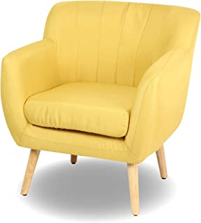 Magshion Guest Mid-Century Modern Living Room Accent Club Chair Single Sofa…, Yellow
