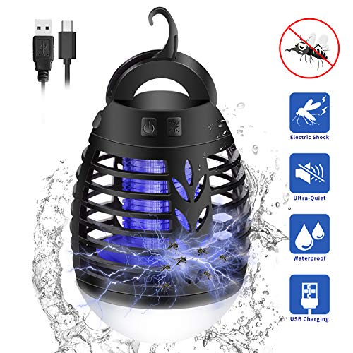 KINGWILL Electric Mosquito Killer Camping Lights, 2 In 1 Portable USB Rechargeable Fly Killer Bug Zapper Lights Tent Light, IP66 Waterproof Outdoor Indoor Insect Killer for Camping Hiking Fishing