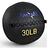 Yes4All 30 lb Wall Ball - Soft Medicine Ball/Wall Medicine Ball for Full Body Dynamic Exercises, Black