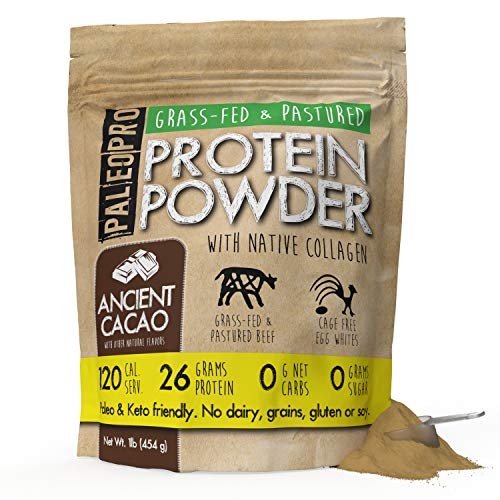 PaleoPro Protein Powder (Ancient Cacao 1lb.) Grass-Fed, Pastured, Cage-Free Protein | Gluten Free, Dairy Free. No Sugar, Soy, Grains or Net Carbs | Paleo & Keto Friendly (15 Servings)