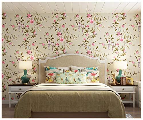 Tapeten Vliestapete Rollen 3D Garten-Landhaus-Blumen Und Vogel-Mustergelb Tapete für Wohnzimmer Fernseher Sofa Hintergrund Mauer 0.53m x 9.5m