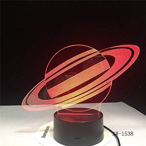 Nachtlicht 3D Nachtlicht Wunder Saturn Schreibtischlampe USB LED 3D Licht 7 Farben neuartige LED Nachtlicht als Geschenk für Kinder