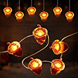 2 Pieces Thanksgiving Fall Acorn Light String 19.6 Feet 40 LED Battery Powered Fairy Lights Acorn Decorative Festive Lights for Christmas Garden Harvest Autumn Indoor Outdoor Decoration