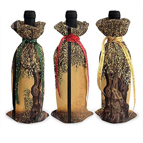 BUXI Printing Wine Bottle Bag,Triptychon Eines Alten Reifen Olivenbaums 3Pcs Weihnachtswein-Flaschen-Abdeckungs-Wein-Flaschen-Abdeckungs-Beutel Für Haus-Dekoration 12x34cm