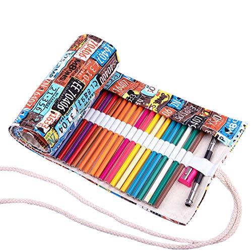 Amoyie Sacchetto della matita portamatite arrorolabile per 72 matite colorate porta penne tela wrap borse organizer astuccio portapenne scuola cassa del supporto di matita viaggio le numero 72