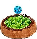 Meilo Tapis éducateurs pour Chiens,Dog Puzzle Toys,Chien Snuffle Tapis Snuffle Mat Puppy Cat Puzzle interactif Jouets(Une Balle supplémentaire) (Green)