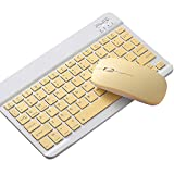 RETYLY Juego de Teclado y Ratón para Tableta Portátil con Pantalla Táctil de 10 Pulgadas, para Teclado Ratón-Amarillo