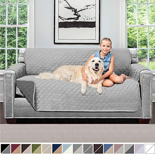 Sofa Shield Original Patent Pending Reversible Small Sofa Protector for Seat Width up to 62 Inch, Furniture Slipcover, 2 Inch Strap, Couch Slip Cover Throw for Pets, Cats, Sofa, Light Gray Charcoal