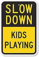 安全標識-減速-子供たちが遊んでいます。金属錫標識UV保護および耐候性、通知警告標識
