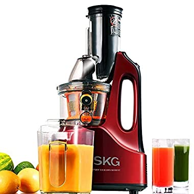 SKG Wide Chute Anti-Oxidation Slow Masticating Juicer (240W AC Motor, 60 RPMs, 3  Large Mouth) - Vertical Masticating Cold Press Juicer - Fruit and Vegetable Juice Extractor