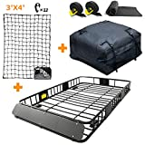 Leader Accessories Roof Rack Cargo Basket Set, Car Top Luggage Holder 64'x 39'x 6'+ Waterproof 15 Cuic Feet Rooftop Cargo Carrier Bag+ 4' x 6' Super Duty Bungee Cargo Net Stretches to 8' x 12'