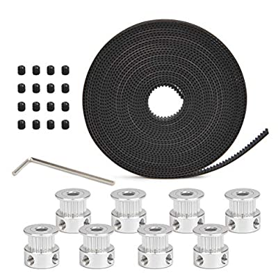 YOTINO 3d Printer Accessories 8pcs 5mm 20-teeth timing pulley wheel + 5m GT2 toothed belt for 3d printers