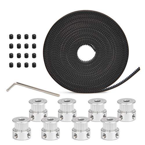 YOTINO Zahnriemen für 3D Drucker GT2 6 mm Breite 5 Meter mit 8 Stück 20 Zähne Riemenscheibe,16 Stück Schrauben,Inbusschlüssel