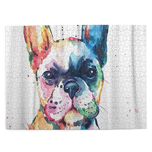 KENADVI Puzzles for Adults 500 Piece Frenchie French Bulldog Original Watercolor of Dog Funny Happy Wooden Puzzles for Adults and Kids Educational Games Home Decoration (20.4'x15')