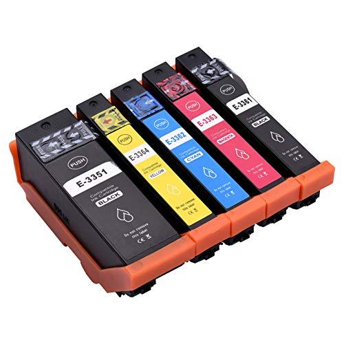Topuality Cartuchos de tinta de repuesto para E-pson 33 33XL Compatible con E-pson Expression Premium XP-900 XP-540 XP-7100 XP-830 XP-630 XP-530 XP-640 XP-645 XP-635 Impresora, paquete de 5