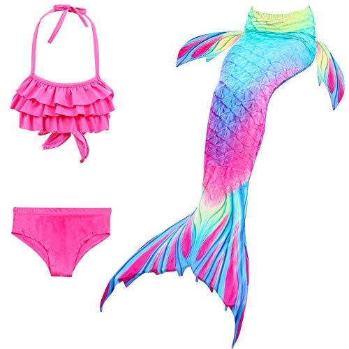 X-Labor Mädchen Cosplay Kostüm Meerjungfrauenschwanz zum Schwimmen 3pcs Bikini Sets Kinder Prinzessin Badeanzug Schwimmanzug rosa 150cm