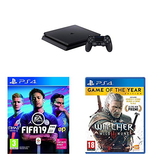 PS4 - 500 GB F Chassis, Black + FIFA 19 + The Witcher III - Game of the Year