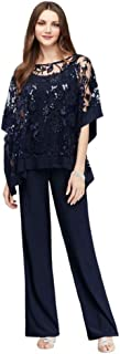 Sequin Lace Pantsuit with Sheer Poncho Style 2288