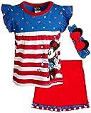 Disney Girls 2 Piece T-Shirt Knit Short Set: Minnie Mouse & Pooh Bear (Infant, Toddler, Little Girls) (USA Minnie Stripes, 12 Months)