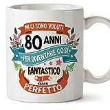 MUGFFINS Tazza Compleanno 80 Anni - Idee Regali Originali et Divertenti per Uomo e Donna - per lui/per lei. Ceramica 350 mL