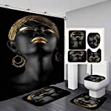 Jayden&Madge 4PCS/Set Elegant African Women Shower Curtain Waterproof Fabric Cloth Polyester Bath Curtain, Non-Slip Bathroom Rugs Toilet Rug Bath Mat, Gold Black Art Bathroom Set, Girl with Earrings
