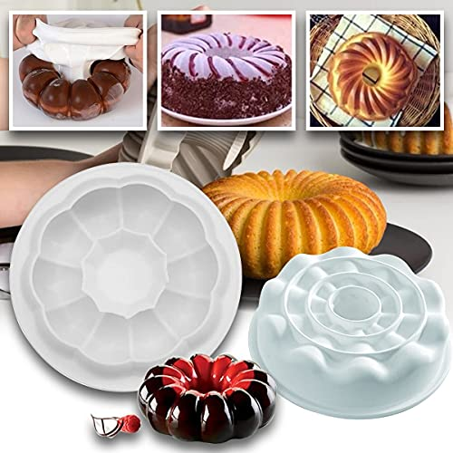 Artistic Silicone Cake Baking Mold, Round Silicone Cake Pan Baking Mold Silicone Cake Molds, Food Grade Safety High Temperature Resistance Soft Cake Pans (1pc)