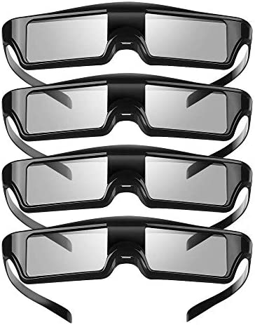 KX 60 3D Glasses 4 Pack Rechargeable 3D Active Shutter Glasses Compatible with Epson Projector product image