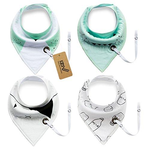 iZiv Bavaglino Neonato - Confezione da 4 Disegni Bandana Bavaglini con Bottoni Regolabile Porta-ciuccio, TPU Impermeabile Fodera per Bambino 0-3 anni (Colore-3)