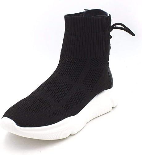 HBDLH Chaussures pour Femmes étudiant Chaussures La Hauteur du Talon De 3 Cm à Fond Plat Tricot Battant Tours Souliers Bottes Martin Bottes