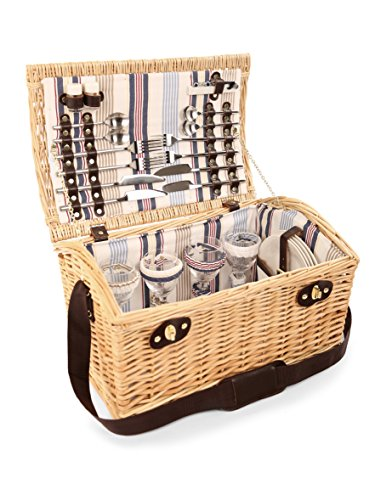 Greenfield Collection GG035 Oxford Deluxe Picnic Basket per 4 Persone in Fila a Strisce di Vimini Champagne/Beige