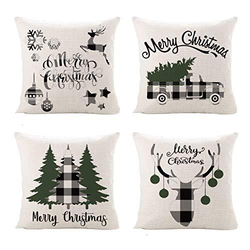 Sinpopo - Juego de 4 fundas de almohada navideñas, 45,72 x 45,72 cm, diseño de cuadros de búfalo de algodón y lino para sofá, sofá y cama (negro, blanco y verde)