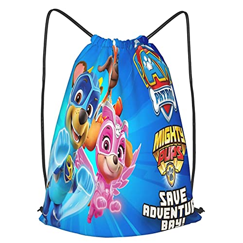 Paw Patrol Hero - Bolsa de deporte impermeable para gimnasio, gran escuela, mochila diaria, bolsa de natación, para niños, niñas, estudiantes, con cordón, paquete de correa