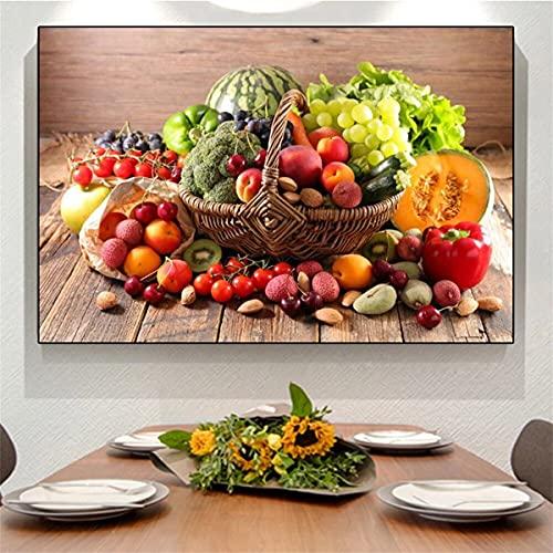 Reiichi Il Cesto Di Appetitosi Verdure E Frutta Murales E Prodotti Alimentari Verdi Su Tela Arte Ristorante Poster 40x60cm NoFramed