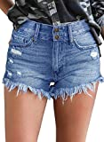 LookbookStore Women's Mid Rise Frayed Ripped Raw Hem Jean Shorts Two Buttons Pockets Denim Pants Blue Size Large