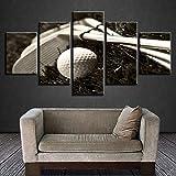 WENXIUF Cuadro sobre Lienzo 5 Partes Bate de Beisbol Blanco,Imprimir En Lienzo HD Cuadros para Dormitorios Modernos, Marco De Madera 100X55CM Listo para Colgar Moderno Decorar