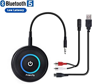 Friencity Bluetooth 5.0 Transmitter Receiver for TV Home Stereo, Low Latency Wireless Audio Adapter for PC Radio Projector DVD PS4 w/ 3.5mm RCA Aux Jack, Dual Stream to 2 Headphones, 14H Playtime