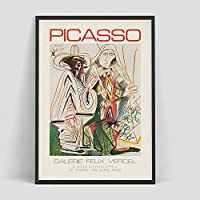 Picasso Retro Fashion Modern Line Vintage Posters Prints Picasso Wall Art Canvas Pictures Home Decor Living Room Hotel Office Decor 50x75cm/Unframed