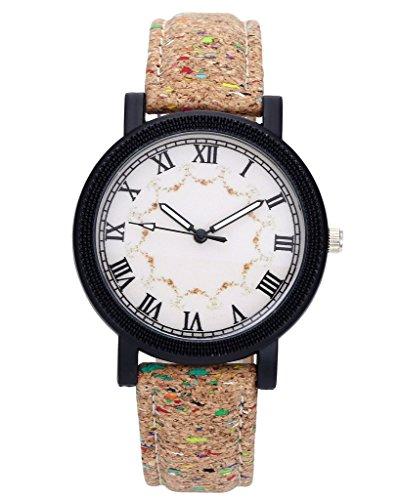 jsdde Relojes, estilo retro mujer reloj de pulsera colores punto Madera Corcho patrón Vintage Mujer Reloj Cuero PU Banda analógico de cuarzo reloj