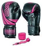 EVO Fitness Guantes de boxeo para mujer, de gel, color rosa